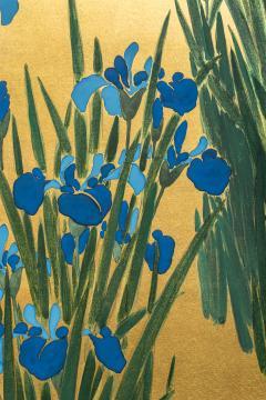 Japanese Two Panel Screen Irises on Gold - 1421279