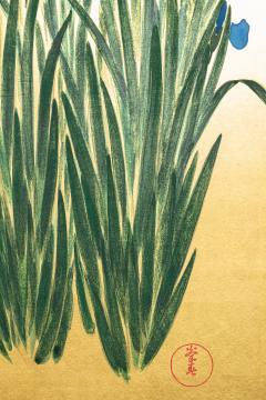 Japanese Two Panel Screen Irises on Gold - 1421371