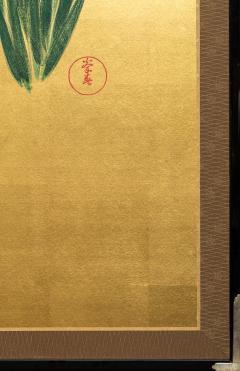 Japanese Two Panel Screen Irises on Gold - 1421378