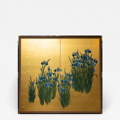Japanese Two Panel Screen Irises on Gold - 1421512