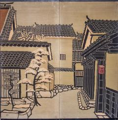 Japanese Two Panel Screen Kyoto Town Street Scene - 1552128