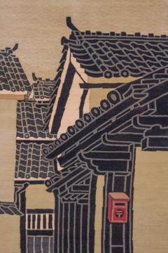 Japanese Two Panel Screen Kyoto Town Street Scene - 1552139