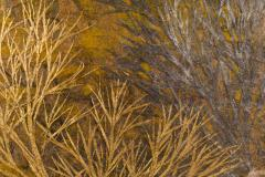 Japanese Two Panel Screen Late Autumn Forest Rare Obara Paper Art Screen - 1950295