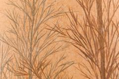 Japanese Two Panel Screen Late Autumn Forest Rare Obara Paper Art Screen - 1950307