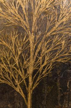 Japanese Two Panel Screen Late Autumn Forest Rare Obara Paper Art Screen - 1950333