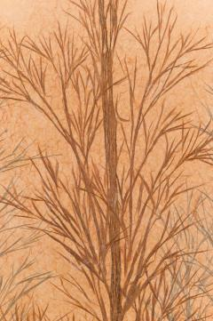 Japanese Two Panel Screen Late Autumn Forest Rare Obara Paper Art Screen - 1950339