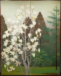 Japanese Two Panel Screen Magnolia Tree in Bloom - 1319986