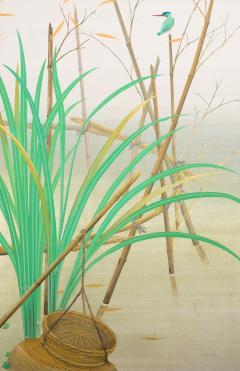Japanese Two Panel Screen Marsh Flowers - 1421624