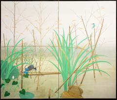 Japanese Two Panel Screen Marsh Flowers - 1421626