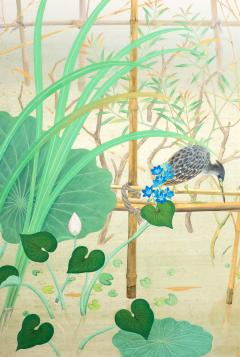 Japanese Two Panel Screen Marsh Flowers - 1421627