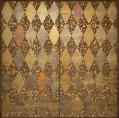 Japanese Two Panel Screen Mica Diamonds on Heavy Gold Fragments - 1368615