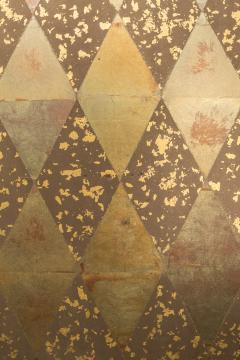 Japanese Two Panel Screen Mica Diamonds on Heavy Gold Fragments - 1368640