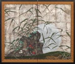 Japanese Two Panel Screen Moon Rising Through Bamboo On Silver Leaf - 1981337