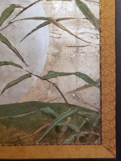 Japanese Two Panel Screen Moon Rising Through Bamboo On Silver Leaf - 1981509