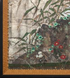 Japanese Two Panel Screen Moon Rising Through Bamboo On Silver Leaf - 1981518