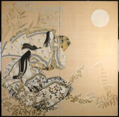 Japanese Two Panel Screen Moon Viewing - 1805098
