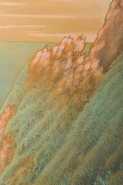 Japanese Two Panel Screen Mountain Seaside Village - 1511599