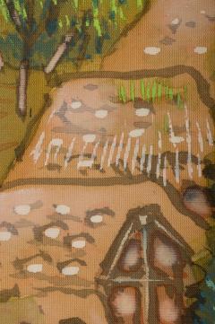 Japanese Two Panel Screen Mountain Seaside Village - 1511606