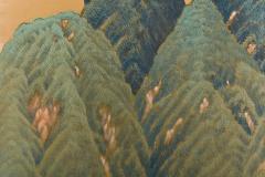 Japanese Two Panel Screen Mountain Seaside Village - 1511608
