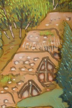 Japanese Two Panel Screen Mountain Seaside Village - 1511612