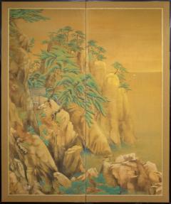 Japanese Two Panel Screen Mountain Shrine on Craggy Ledge - 1319990
