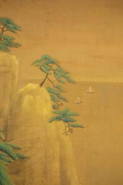 Japanese Two Panel Screen Mountain Shrine on Craggy Ledge - 1320035
