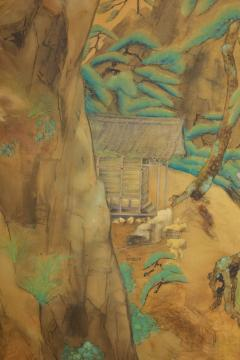 Japanese Two Panel Screen Mountain Shrine on Craggy Ledge - 1320039