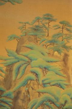 Japanese Two Panel Screen Mountain Shrine on Craggy Ledge - 1320040