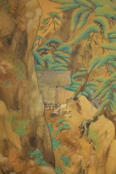Japanese Two Panel Screen Mountain Shrine on Craggy Ledge - 1320041