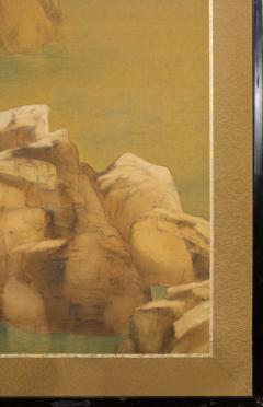 Japanese Two Panel Screen Mountain Shrine on Craggy Ledge - 1320042