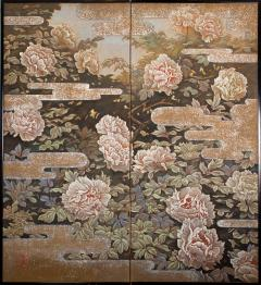 Japanese Two Panel Screen Peonies In the Mist - 1428221