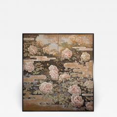 Japanese Two Panel Screen Peonies In the Mist - 1428596
