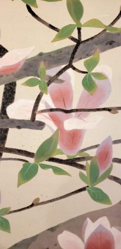 Japanese Two Panel Screen Pink and White Magnolias In Early Bloom - 1564227