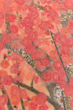 Japanese Two Panel Screen Red Plum Rare Obara Paper Art Screen - 1905831