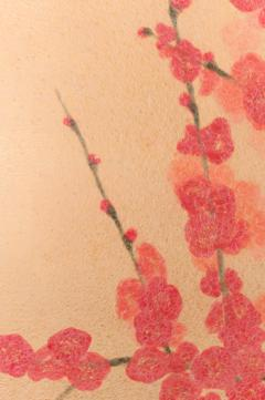 Japanese Two Panel Screen Red Plum Rare Obara Paper Art Screen - 1905833