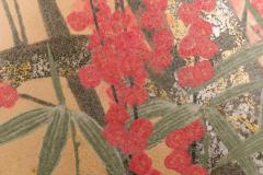 Japanese Two Panel Screen Red Plum Rare Obara Paper Art Screen - 1905834