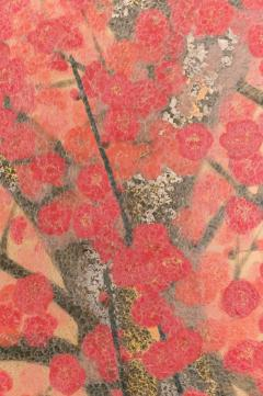 Japanese Two Panel Screen Red Plum Rare Obara Paper Art Screen - 1905836