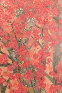 Japanese Two Panel Screen Red Plum Rare Obara Paper Art Screen - 1905838