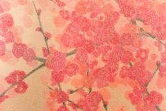 Japanese Two Panel Screen Red Plum Rare Obara Paper Art Screen - 1905849