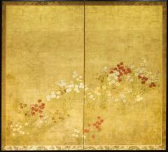 Japanese Two Panel Screen Rimpa Nadeshiko Flowers on Heavy Gold Leaf - 1981330