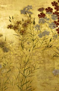 Japanese Two Panel Screen Rimpa Nadeshiko Flowers on Heavy Gold Leaf - 1981546