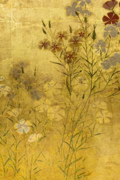 Japanese Two Panel Screen Rimpa Nadeshiko Flowers on Heavy Gold Leaf - 1981547