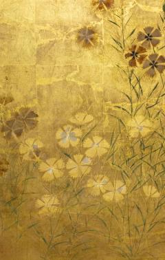 Japanese Two Panel Screen Rimpa Nadeshiko Flowers on Heavy Gold Leaf - 1981548