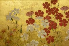 Japanese Two Panel Screen Rimpa Nadeshiko Flowers on Heavy Gold Leaf - 1981549