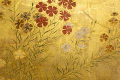 Japanese Two Panel Screen Rimpa Nadeshiko Flowers on Heavy Gold Leaf - 1981550