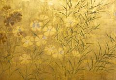 Japanese Two Panel Screen Rimpa Nadeshiko Flowers on Heavy Gold Leaf - 1981552