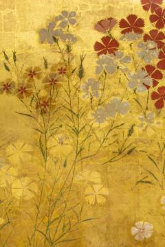 Japanese Two Panel Screen Rimpa Nadeshiko Flowers on Heavy Gold Leaf - 1981554