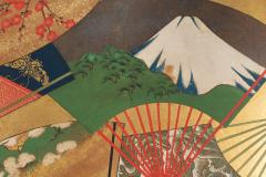 Japanese Two Panel Screen Rimpa Painting of Fans on Gold Leaf - 1825001