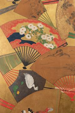 Japanese Two Panel Screen Rimpa Painting of Fans on Gold Leaf - 1825006