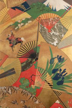 Japanese Two Panel Screen Rimpa Painting of Fans on Gold Leaf - 1825008
